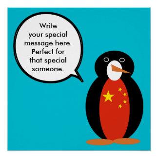 Póster Pingüino de la república popular de China