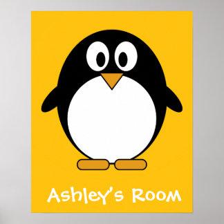Póster Pingüino lindo y moderno del dibujo animado