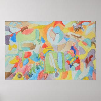 Póster Pintura abstracta del color de agua