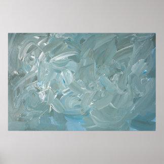Póster Pintura abstracta verde azulada tempestuosa del
