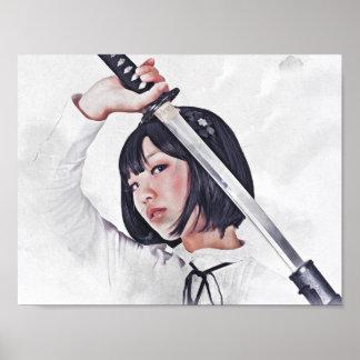 Póster Pintura aguda del chica de la espada de Katana