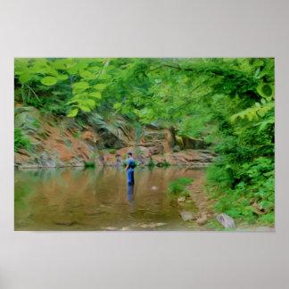 Póster Pintura de Digitaces del pescador de la trucha
