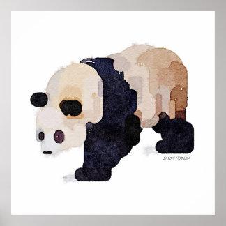 Póster Pintura de la acuarela de la panda del helado