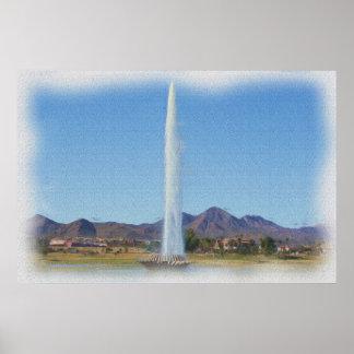 Póster Pintura de la foto de la fuente en colinas de la