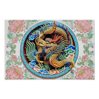 Póster Pintura fresca del dragón colorido japonés chino