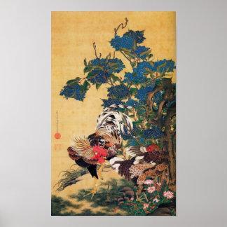 Póster Pintura japonesa por el año del gallo P 2017