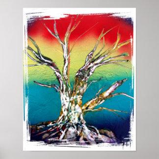 Póster Pintura roja del árbol del deadwood del verde amar