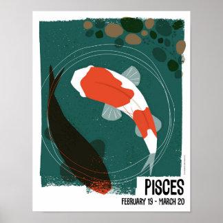 Póster Piscis el zodiaco de los pescados