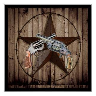 Póster Pistola del país occidental del vaquero de la