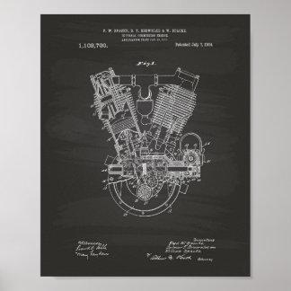 Póster Pizarra de la patente del motor de combustión