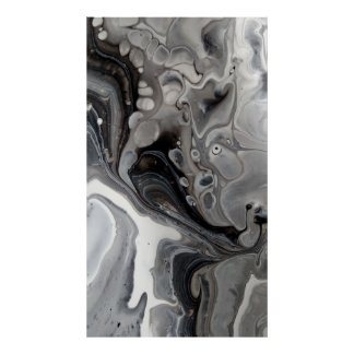 Póster Plata gris abstracta de mármol flúida blanca negra