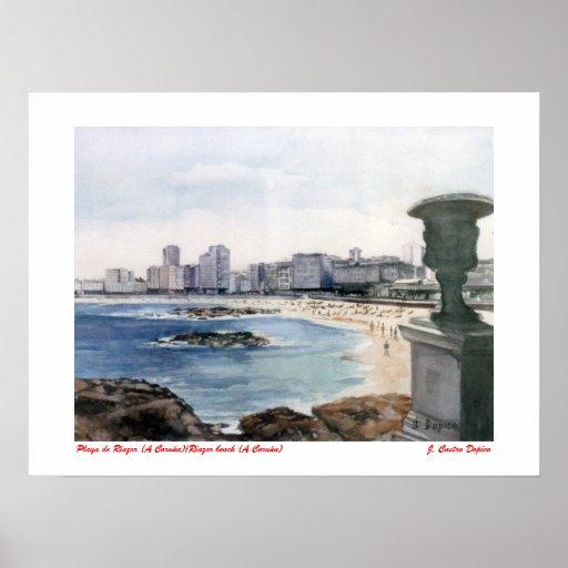 Póster Playa de Riazor (A Coruña)/Riazor beach (A Coruña)