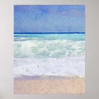 Póster Playa del paisaje marino y acuarela de las ondas