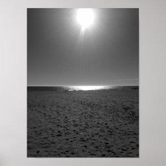 Póster Playa monocromática