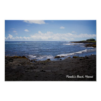 Póster Playa negra de la arena de Punalu'u • Hawaii