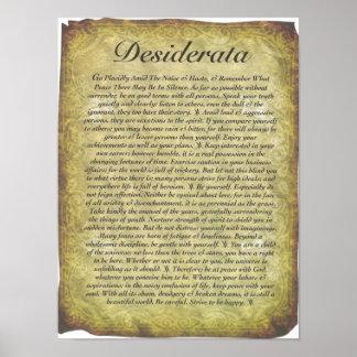 Póster Poema de los desiderátums en el papel antiguo del