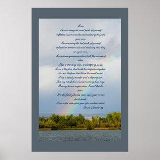 Póster Poema del amor con el poster de la foto del arco