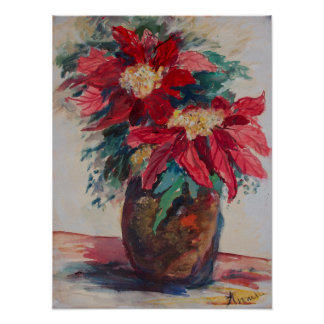 Póster Poinsettias en un florero de Brown