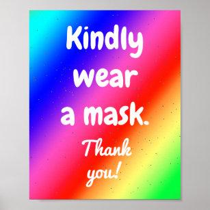 Póster Por favor use una máscara Poster de colores arcoi