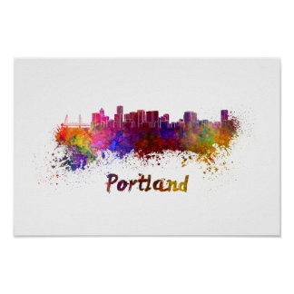 Póster Portland skyline in watercolor
