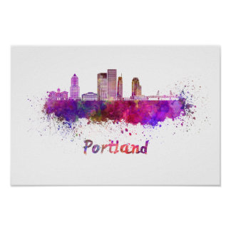 Póster Portland V2 skyline in watercolor