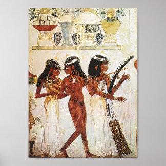Póster Postal egipcia de los músicos de las mujeres