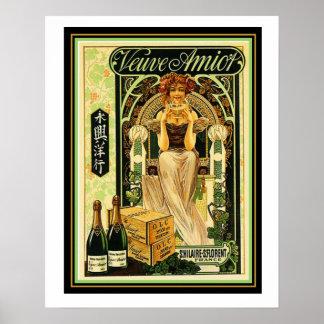 Póster Poster 16 x 20 del anuncio de Champán del art déco
