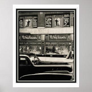 Póster Poster 16 x 20 del vintage B&W de la farmacia de