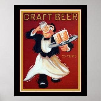Póster Poster 16x20 de la cerveza de barril del vintage
