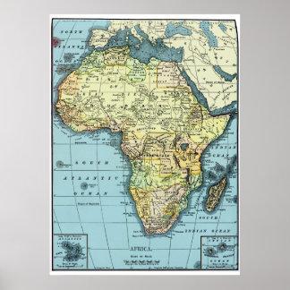 Póster Poster 1890 del mapa del vintage de África