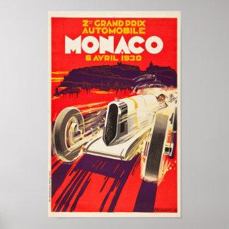 Póster Poster 1930 de Mónaco Grand Prix del vintage
