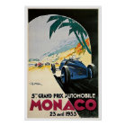 Póster Poster 1933 del viaje del vintage de Mónaco Grand