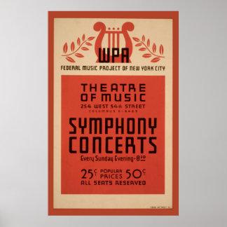 Póster Poster 1940 del vintage de WPA de la música de