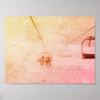 Póster Poster abstracto colorido de la snowboard del
