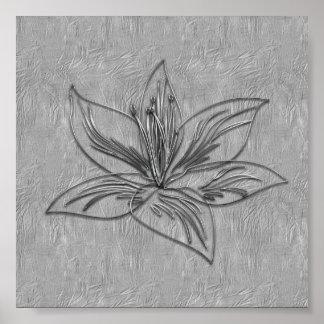 Póster Poster abstracto del collage de la flor del lirio
