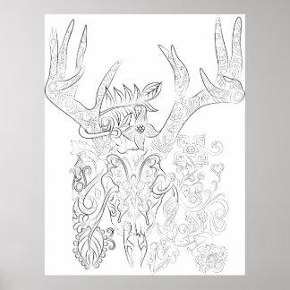 Póster poster adulto del colorante del dibujo del cráneo