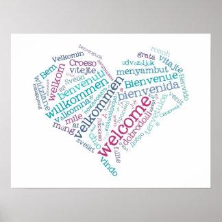 Póster Poster agradable del corazón (muchas idiomas)