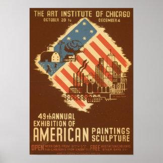 Póster Poster americano de la exposición del vintage