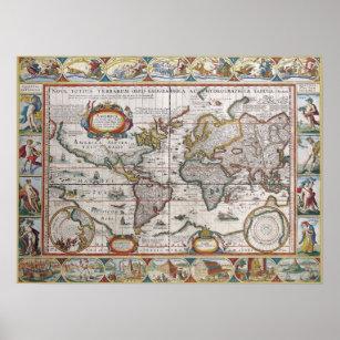 Póster Poster antiguo del mapa del mundo