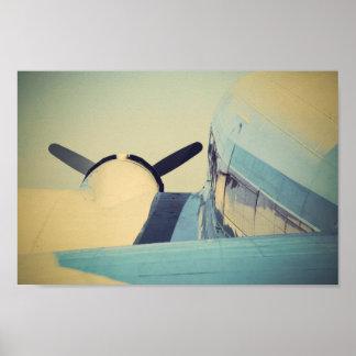 Póster Poster antiguo viejo del azul del aeroplano