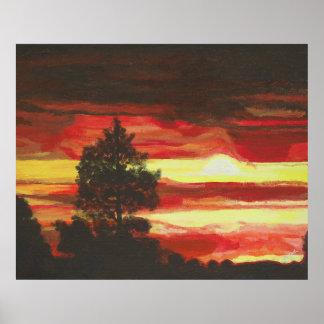 Póster Poster ardiente de la puesta del sol