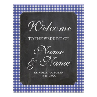 Póster Poster azul del boda de la muestra del control del