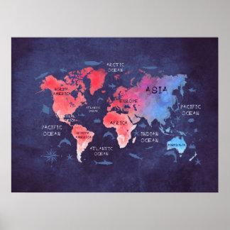 Póster poster azul rojo del mapa del mundo