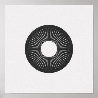 Póster Poster blanco y negro del iris minimalista del