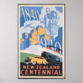 Póster Poster centenario del viaje de Nueva Zelanda