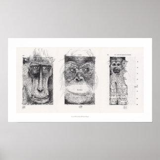 Póster Poster chino del zodiaco del Año Nuevo de 3 monos