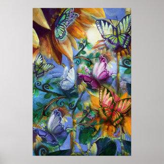 Póster Poster colorido de las mariposas