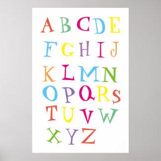 Póster Poster colorido del alfabeto inglés para los niños
