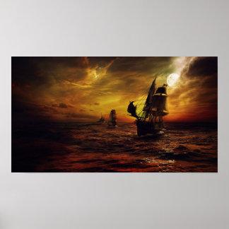 Póster Poster con el barco pirata