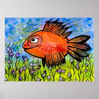 Póster Poster con los pescados grandes rojos